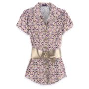 Short Sleeve Blouse with Belt