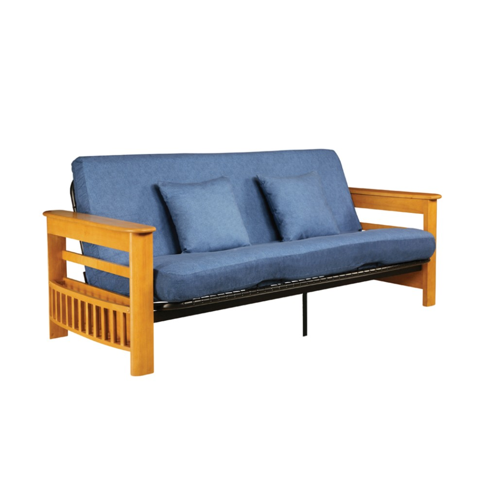 Queen Trundle Frame on Serta Athens Frame Med Oak W  Redbud Pocketed Coil Futon Queen Denim