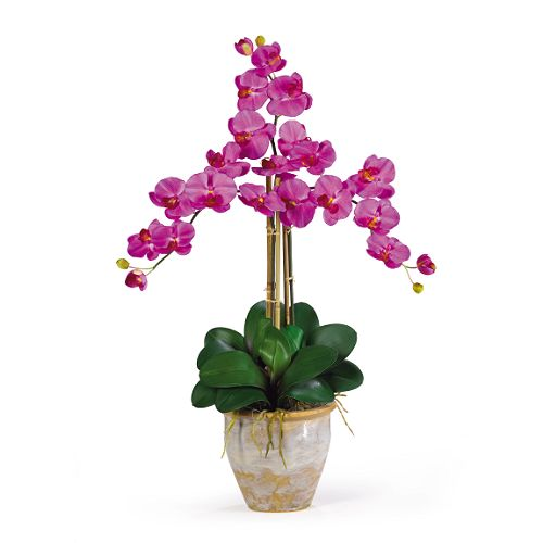 Nearly Natural Triple Stem Phalaenopsis Silk Orchid Arrangement $ 49.99