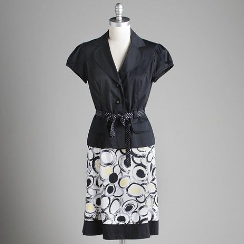 Studio 1 Black Tie Jacket Print Skirt $ 39.99