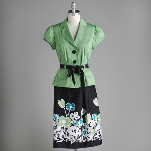 Studio 1 Green Jacket Printed Skirt $ 39.99