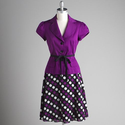 Studio 1 Purple Jacket Dot Print Skirt $ 39.99
