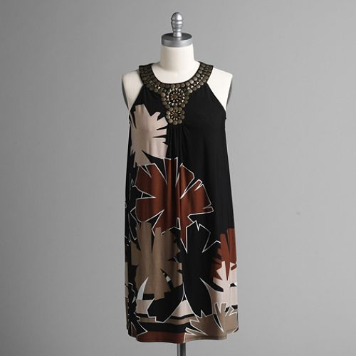 Studio 1 Women's Beaded Neck Placement Print Jersey Dress $ 49.99