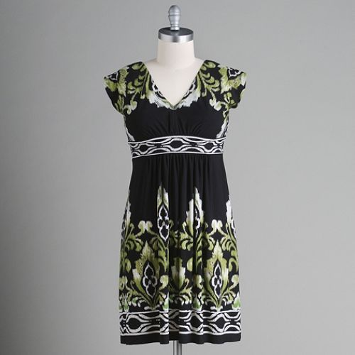 Studio 1 Abstract Floral V-Neck Dress $ 39.99