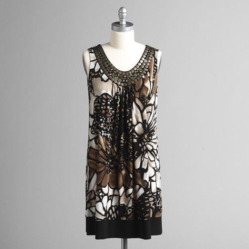 Studio 1 Embellished Scoopneck Floral Print Sleeveless Dress $ 49.99