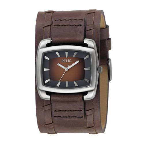 Relic Men's Watch with Silvertone Square Case, Brown Dial and Brown Leather Cuff Band $ 22.99