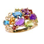 Rainbow Bomb :  multi-color cocktail ring trendy jewelry gemstone ring precious gems