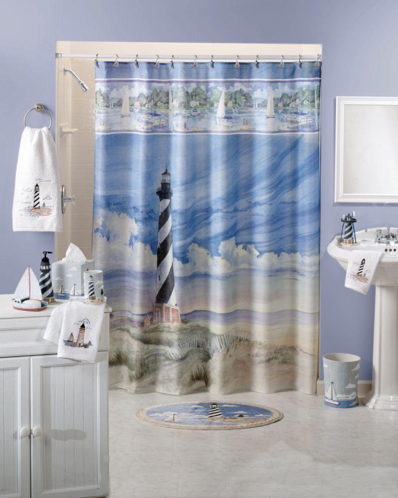 About lighthouse fabric shower curtain bath ocean beach sea nautical