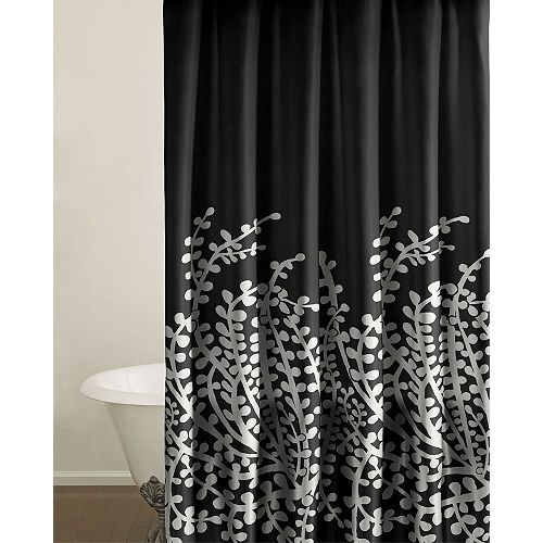 Curtains Ideas black shower curtain with white flower : Black Shower Curtain