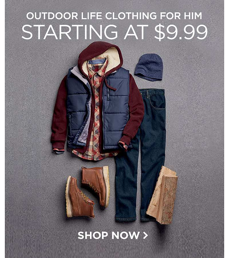 Outdoor Life Clothing for Him Starting at $9.99