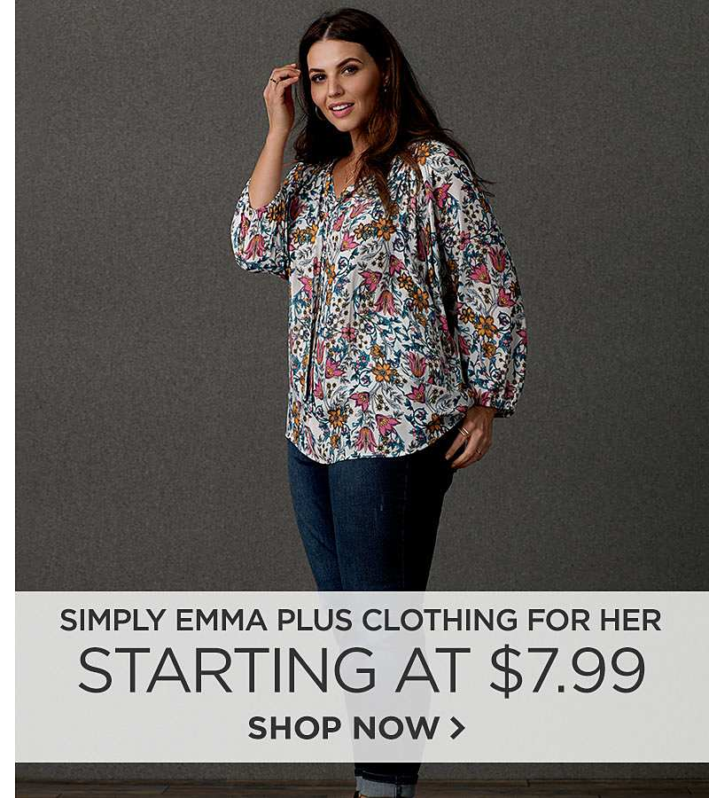 Simply Emma Plus Clothing for Her Starting at $7.99