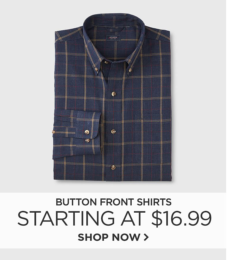 Button Front Shirts Starting at $16.99
