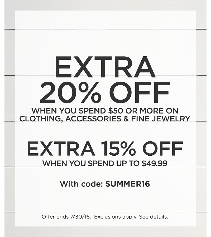 Extra 20% Off Clothing, Accessories & Fine Jewelry